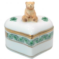 Herend Heart Shaped Fancy Box with Teddy Bear - Green